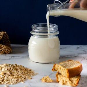 pouring oat milk