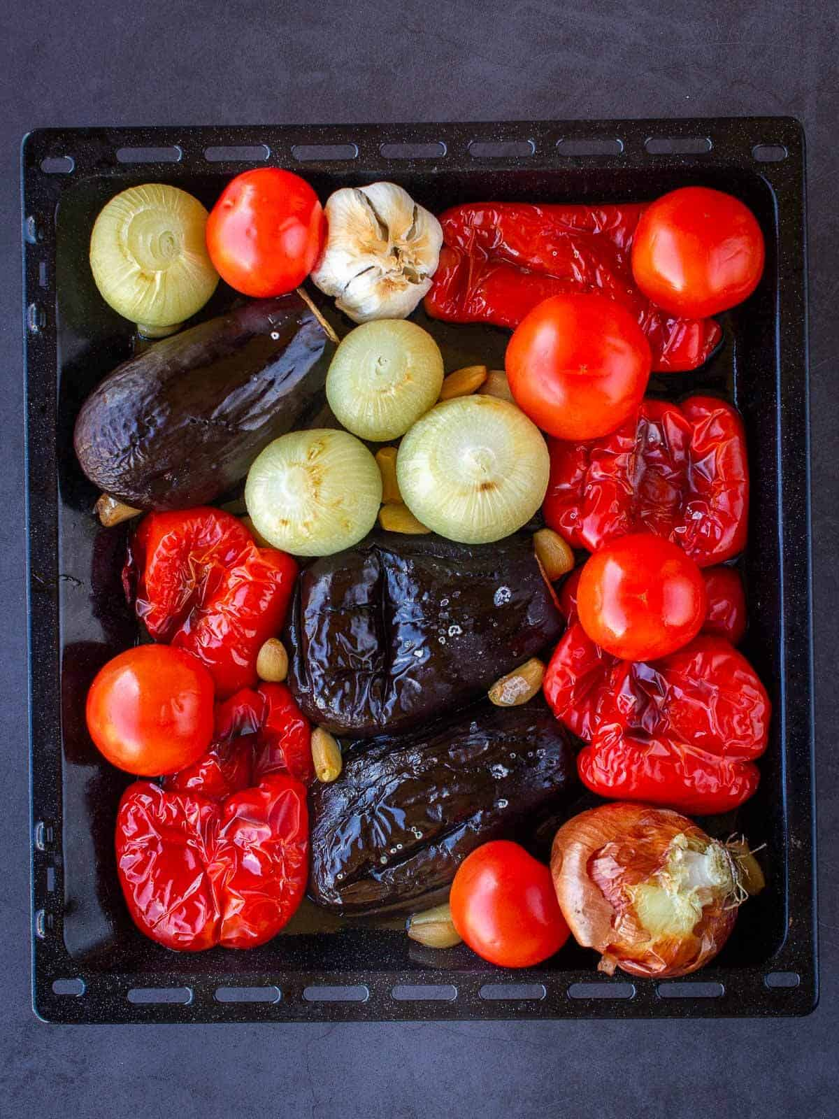 Escalivada cooked in tray