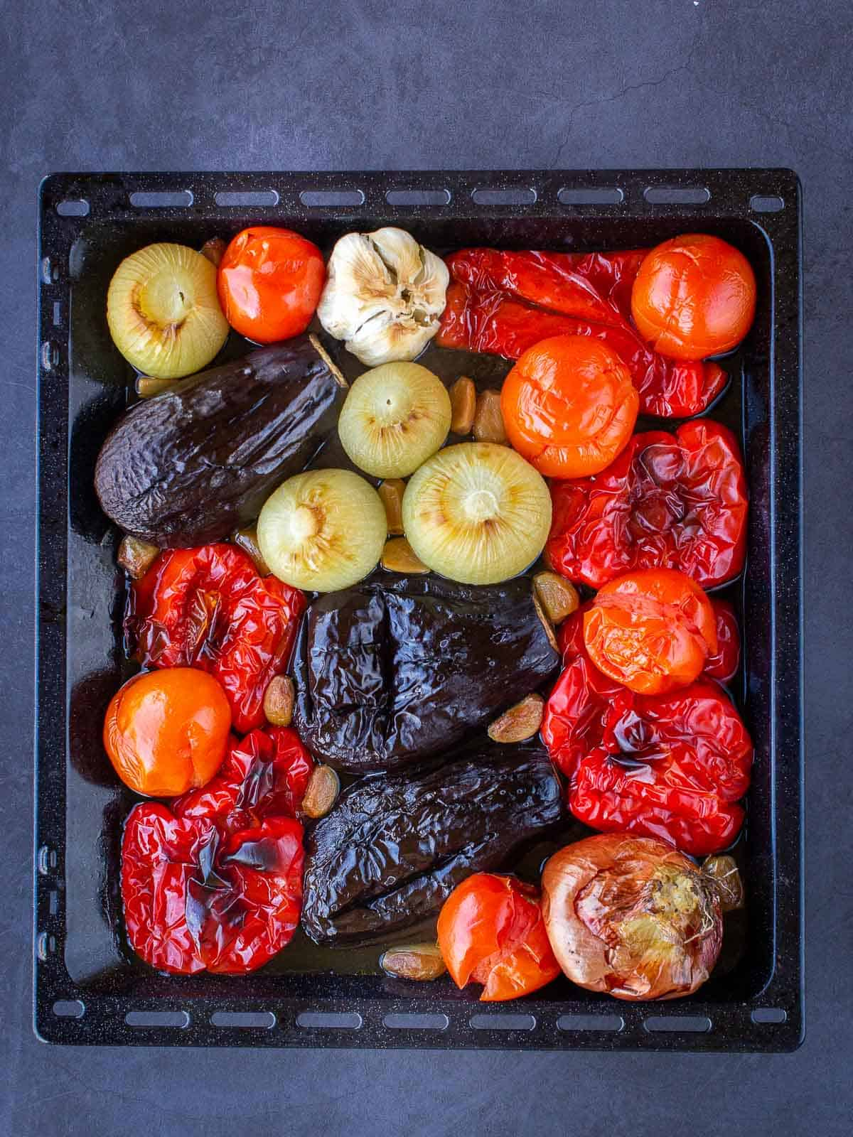 Escalivada Cooked Ingredients in Tray