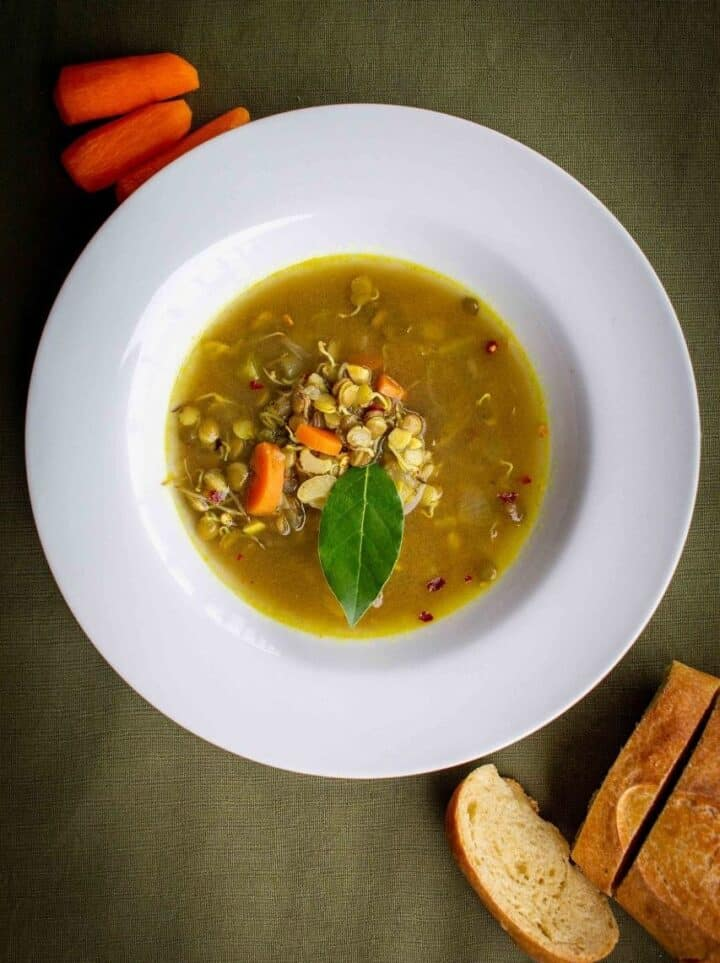 sprouted lentils soup