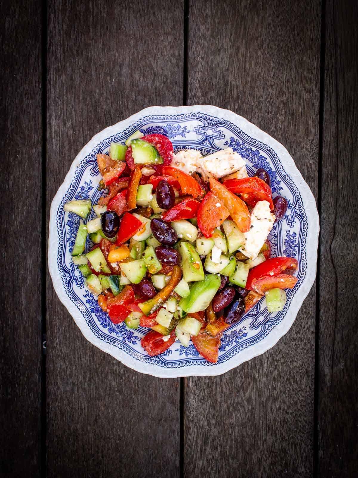 Greek Salad in wood table