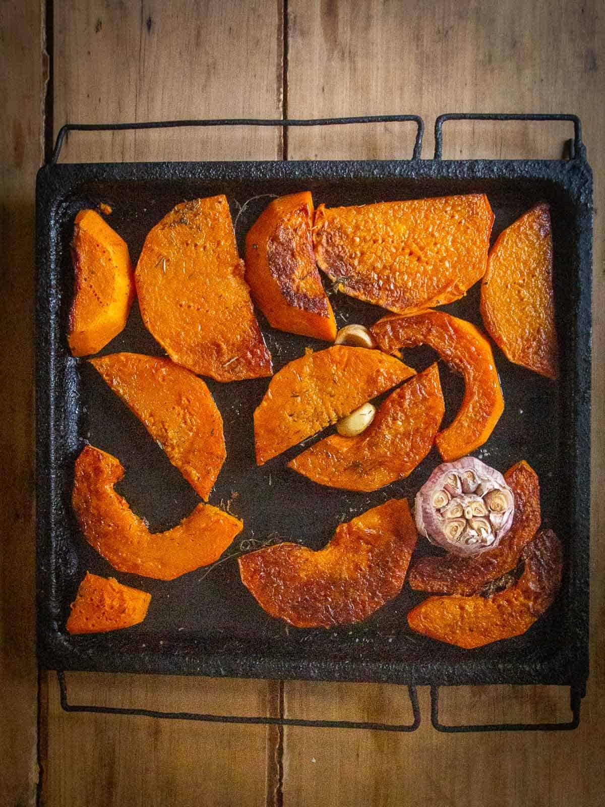 roasted butternut squash in tray
