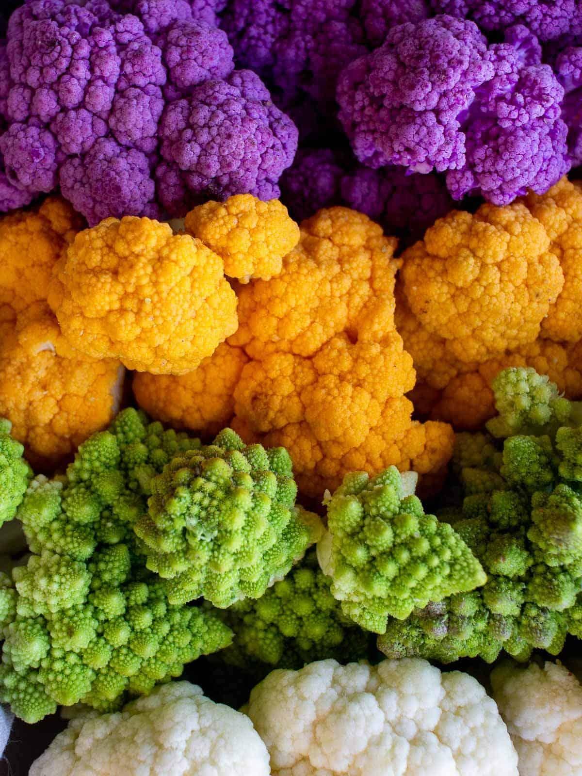 colorful broccoli and cauliflowers