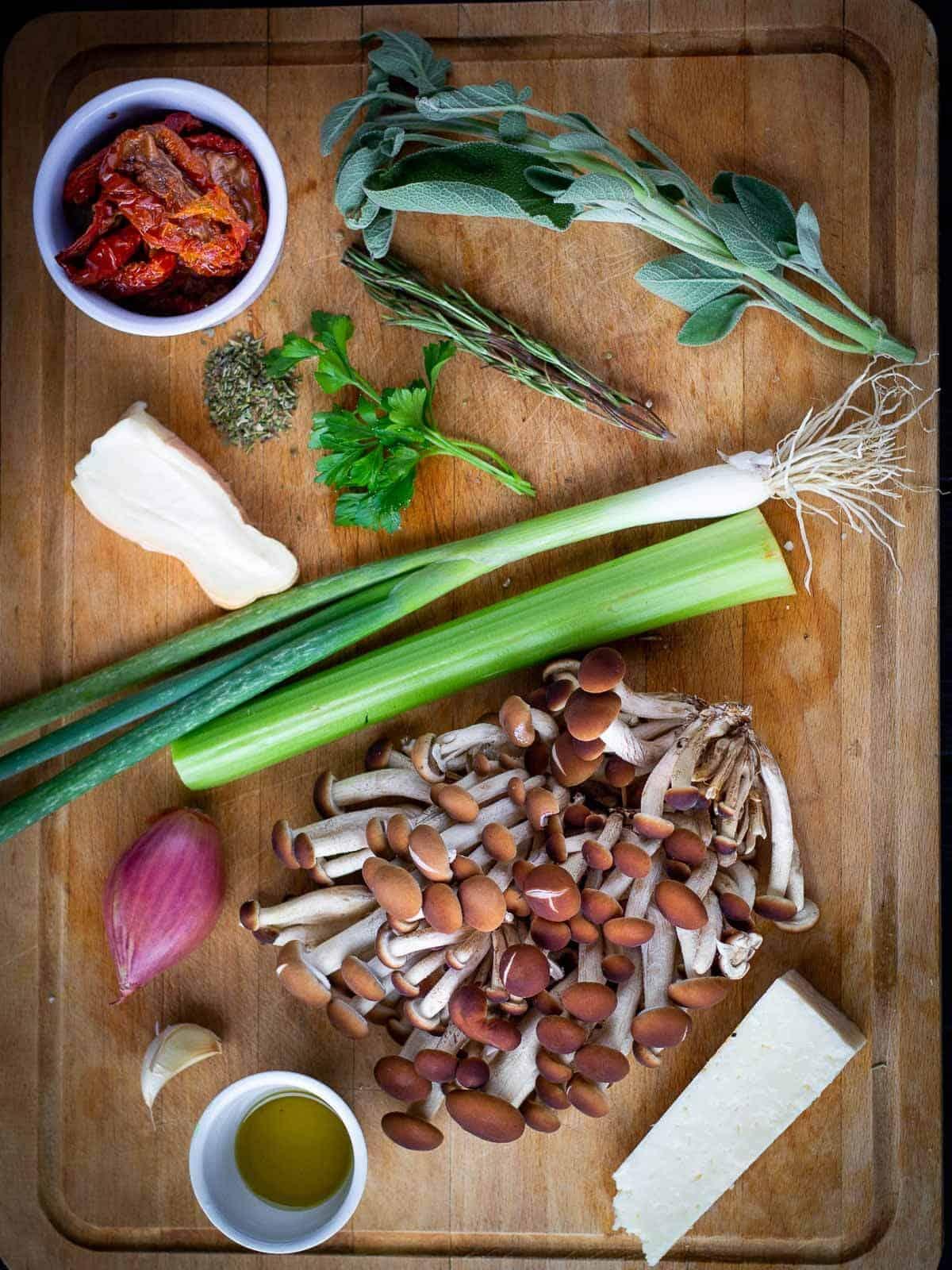 Herbs Stuffed Mushrooms ingredients