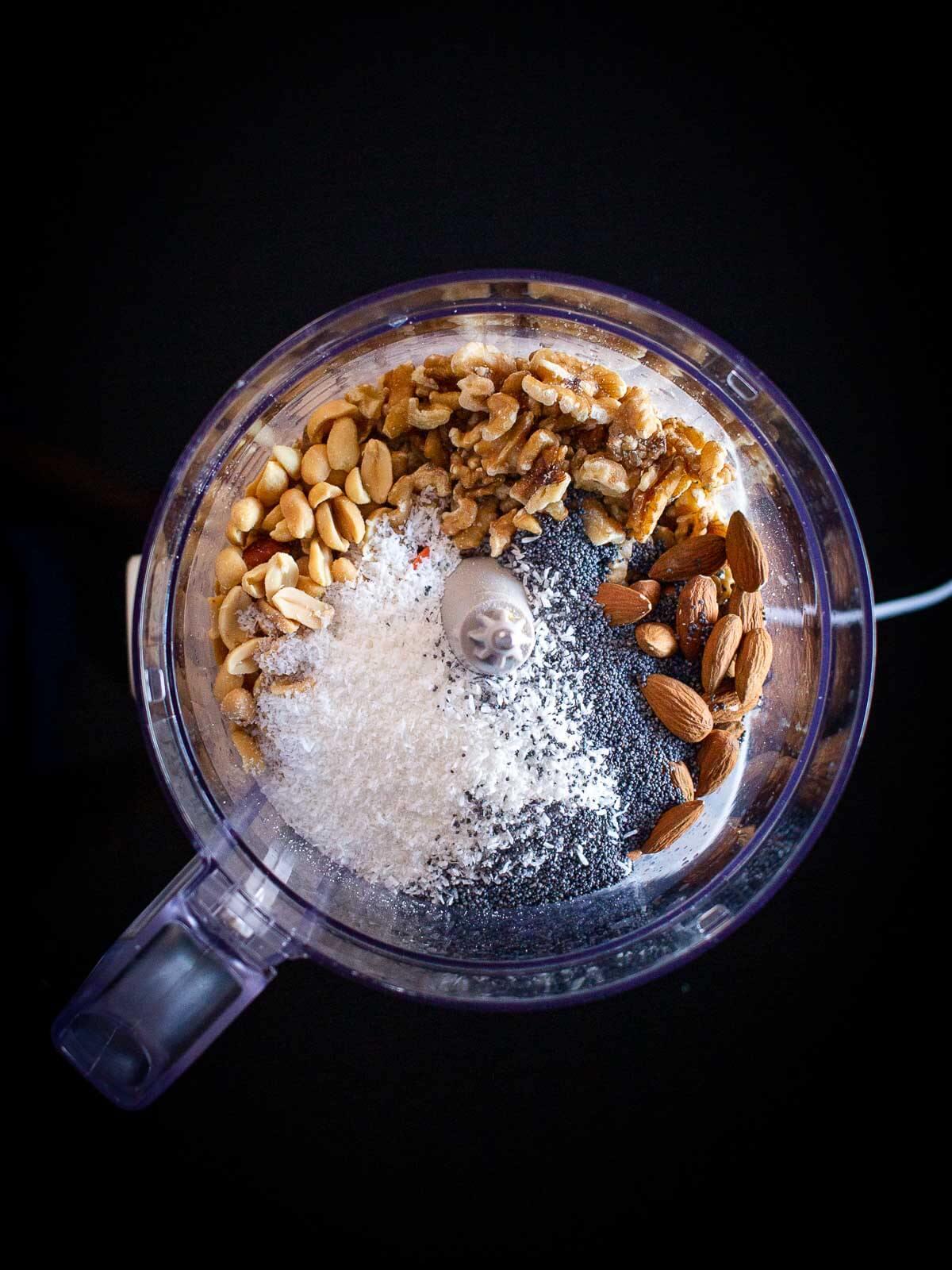 vegan truffles ingredients in blender