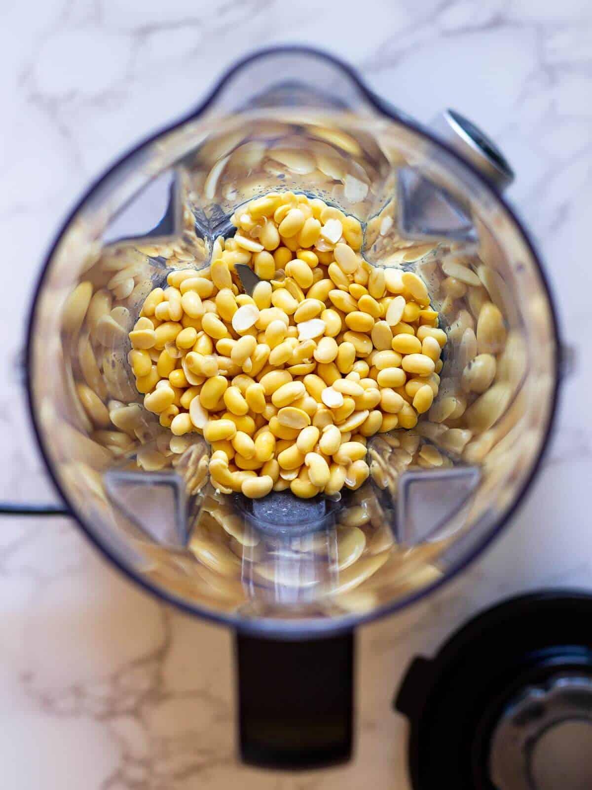 soy beans in blender