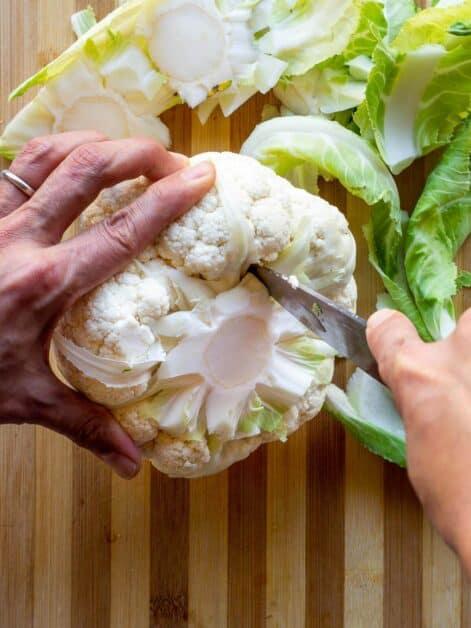 removing cauliflower stem