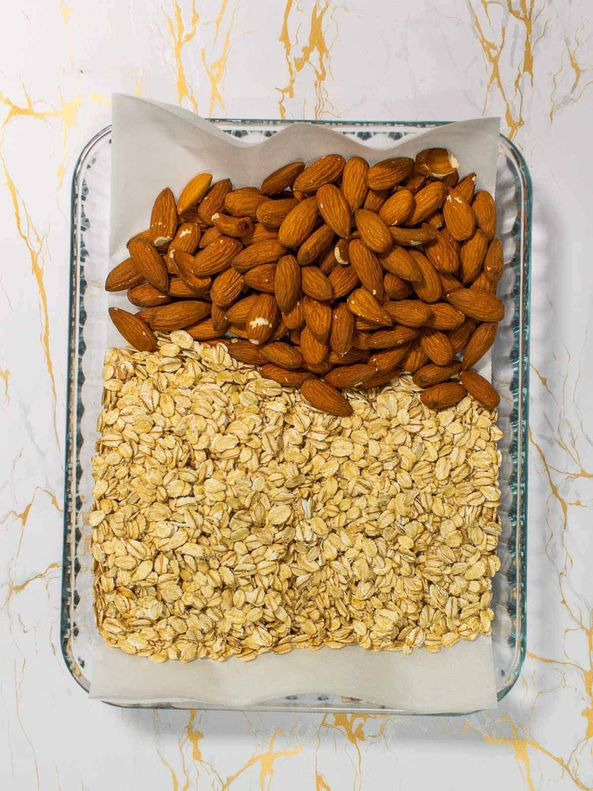 raw oats and almonds