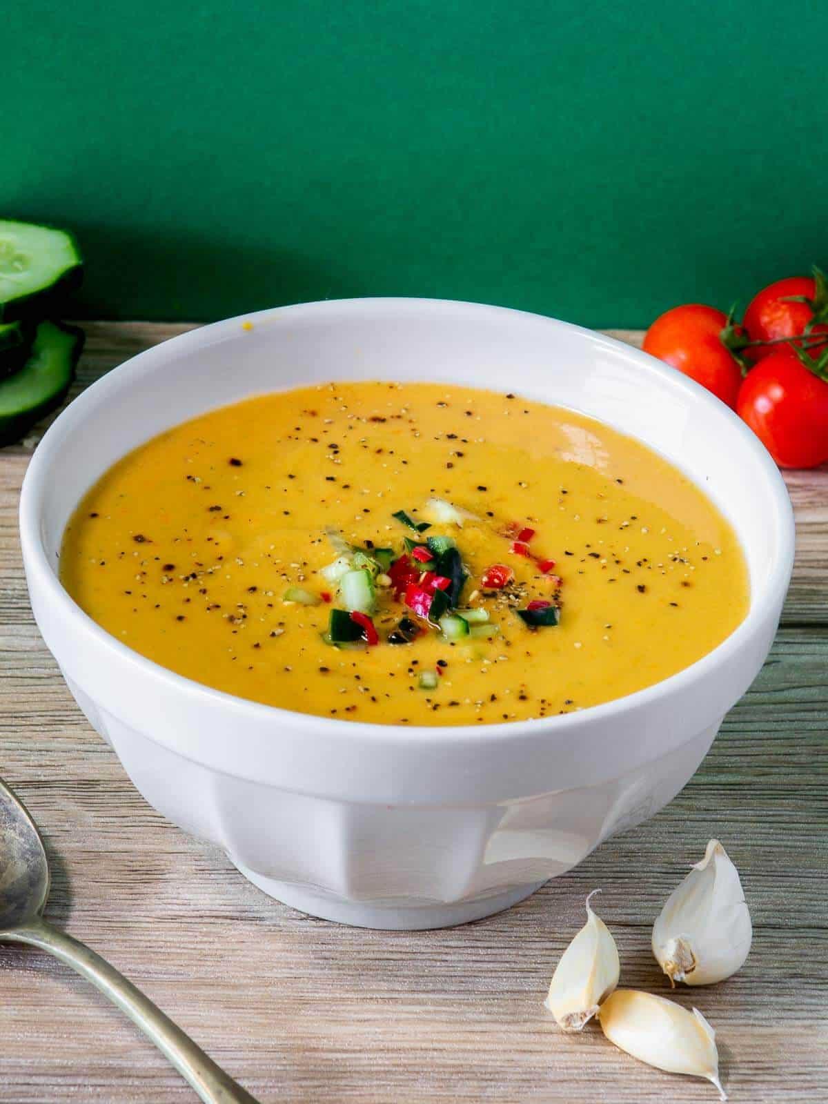 Garnished Gazpacho in bowl