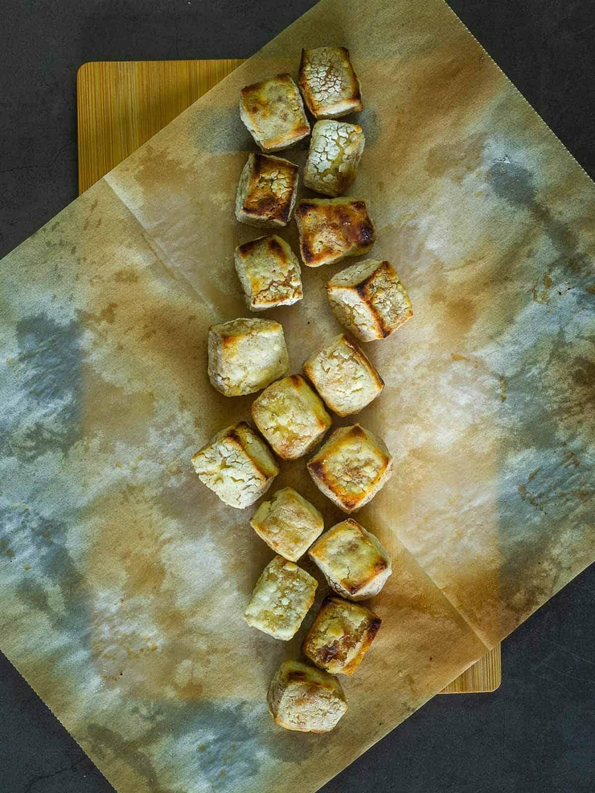 Crispy Tofu on Parchment Paper