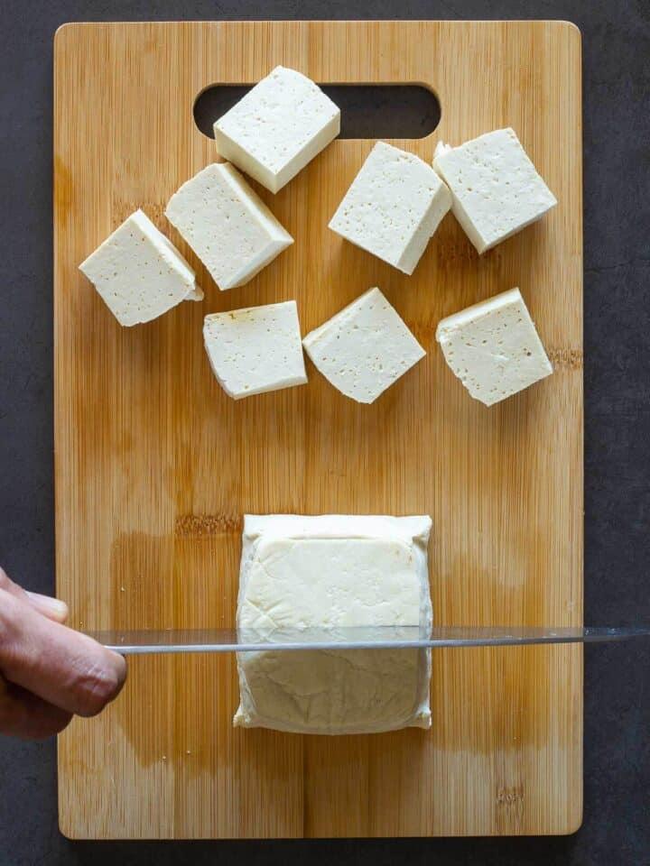 dicing Crispy Tofu