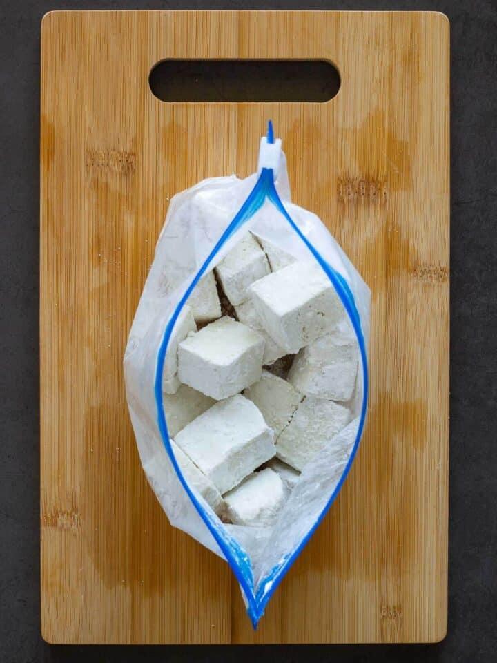 Cornstarch in a Ziplock with Tofu