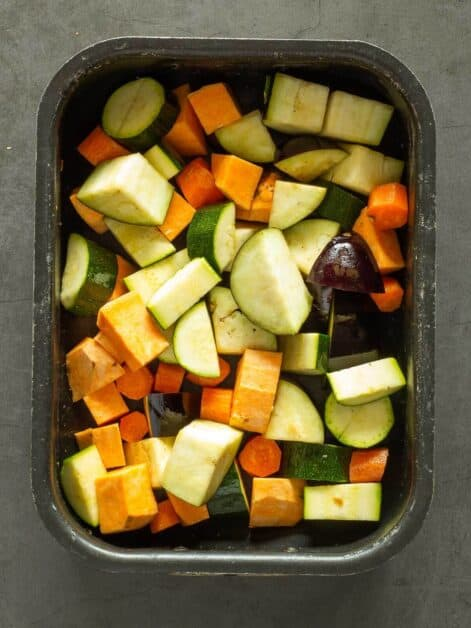 Diced Vegetables for Curry in Pan