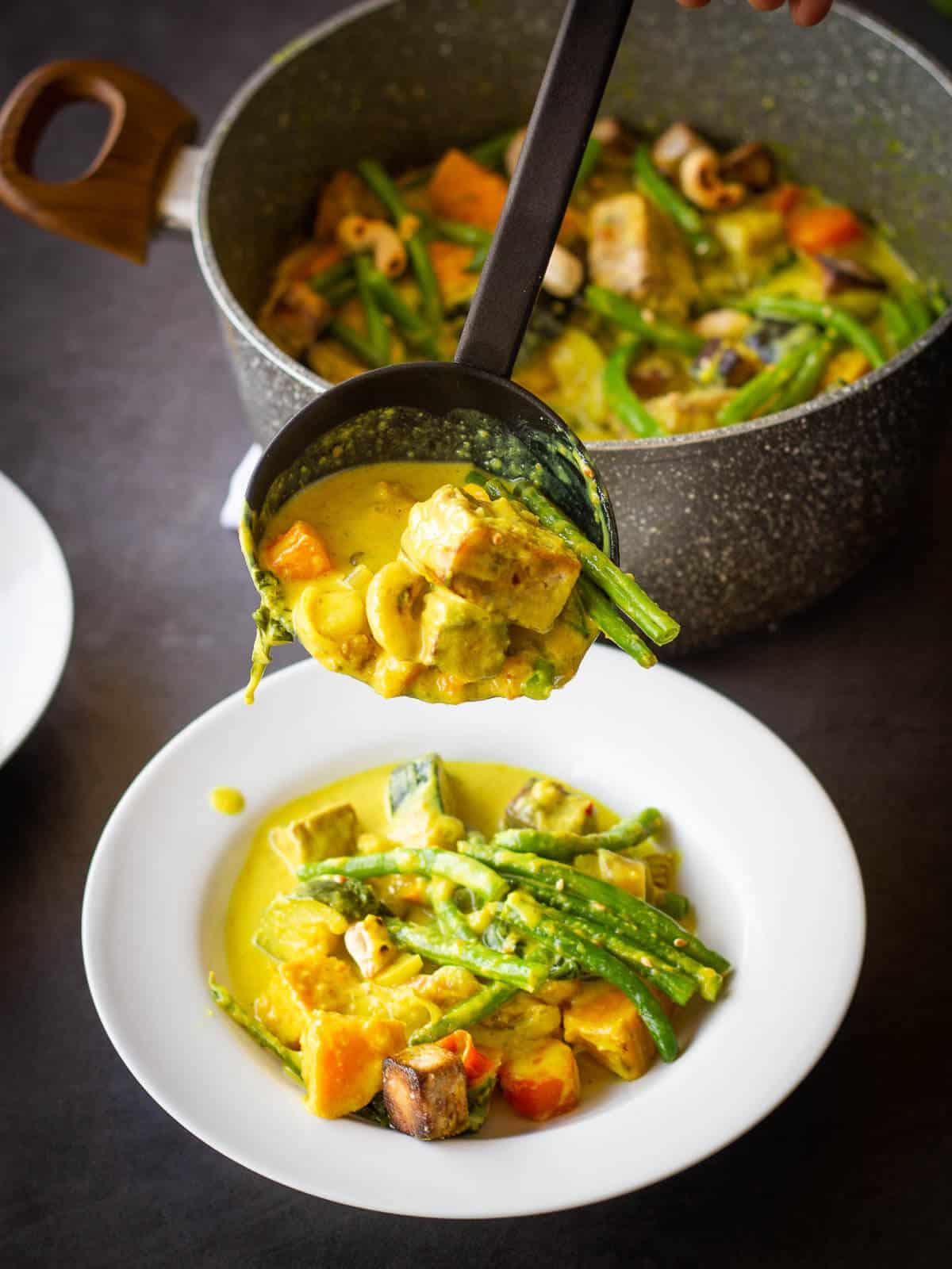 Serving Vegan Yellow Curry