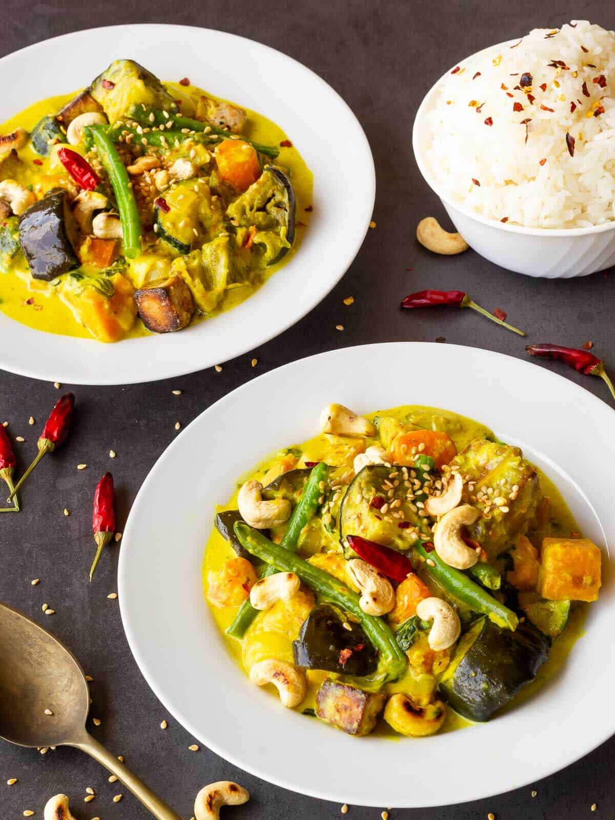Vegan Thai Yellow Curry with Jasmin Rice