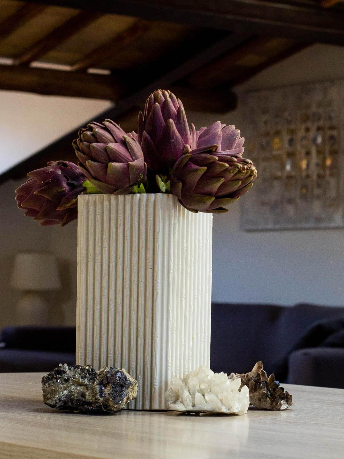roman artichokes in flower pot