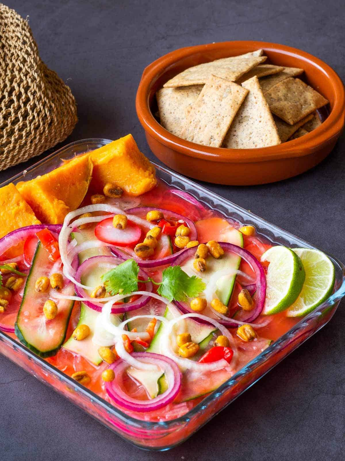Vegan Ceviche with Crackers