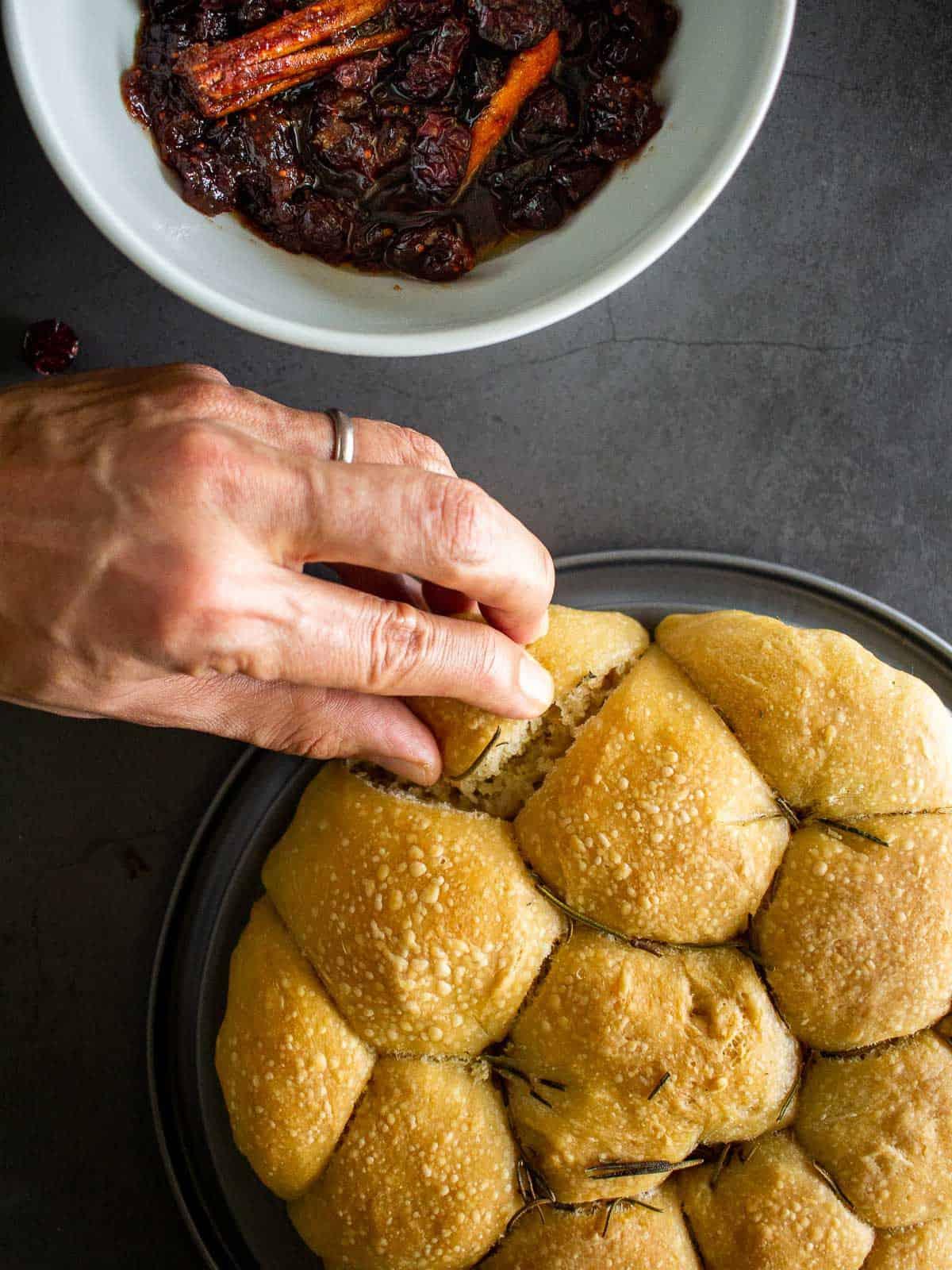 buns with cranberry sauce