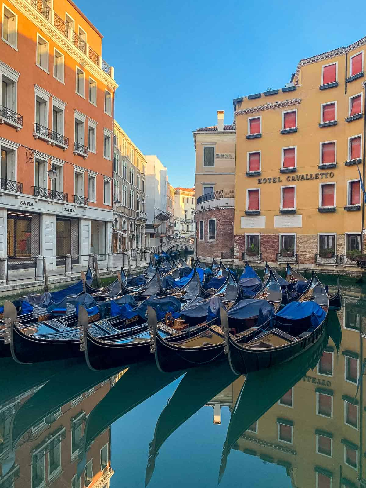 venice parked gondolas